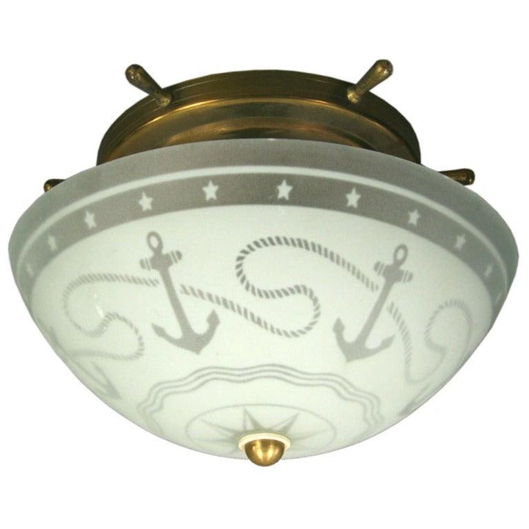 nautical flush mount light surface mount 12403 frosted glass nautical flushmount with brass ships wheel lighting lamp pendant lantern nautical glass dome flushmount at 1stdibs