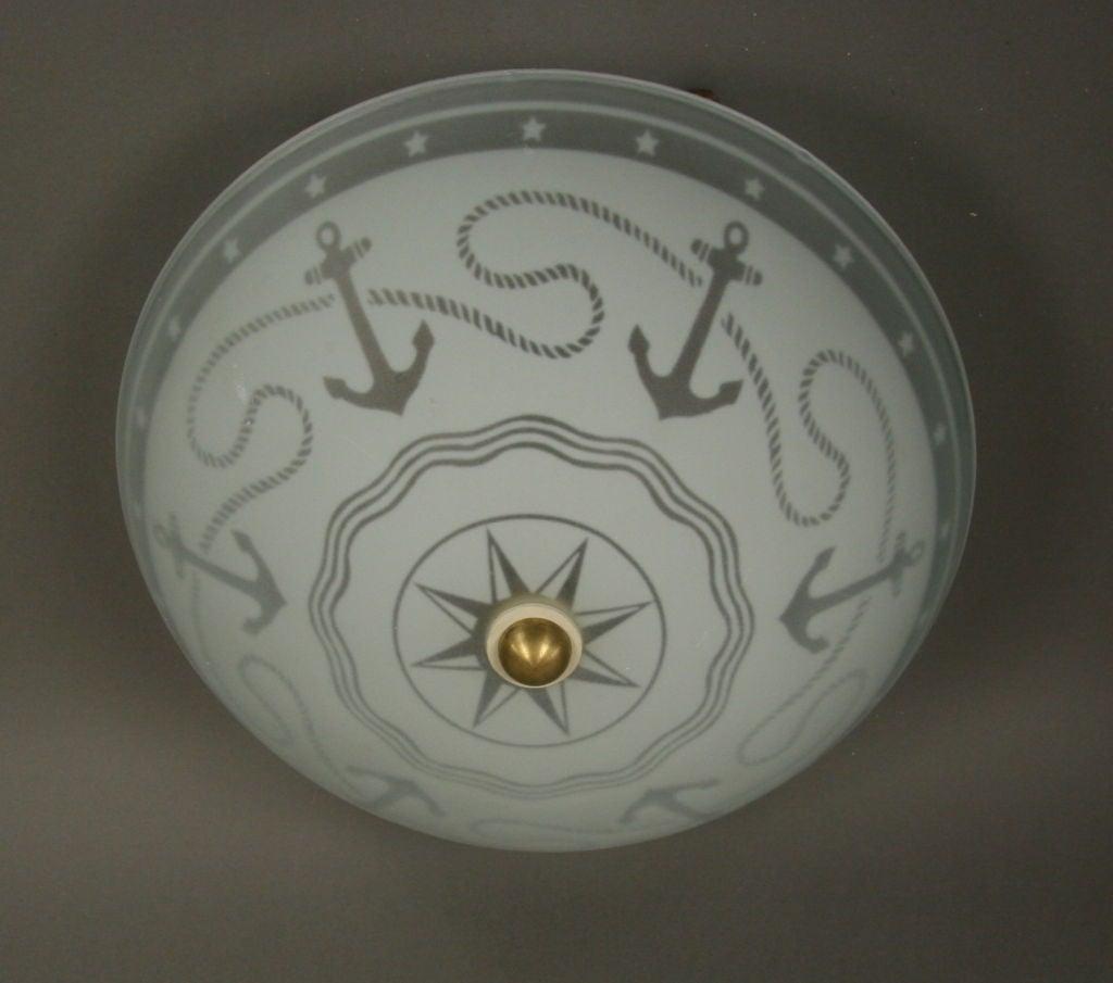 nautical glass dome flushmount at 1stdibs. Black Bedroom Furniture Sets. Home Design Ideas