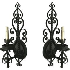 Pair Large Single Arm Scrolled Sconces