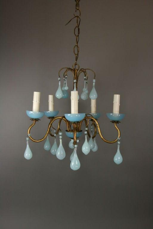 Opaline Blue Murano Glass Chandelier image 3