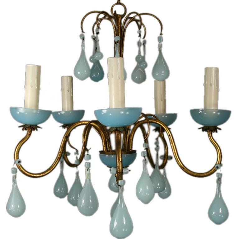 Opaline Blue Murano Glass Chandelier