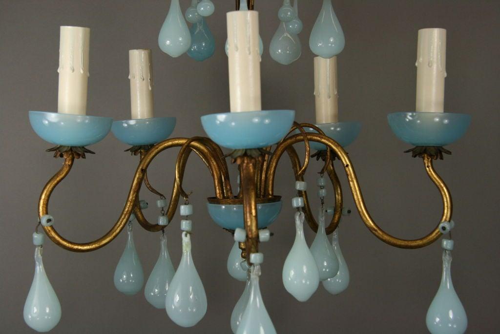 Opaline Blue Murano Glass Chandelier image 4