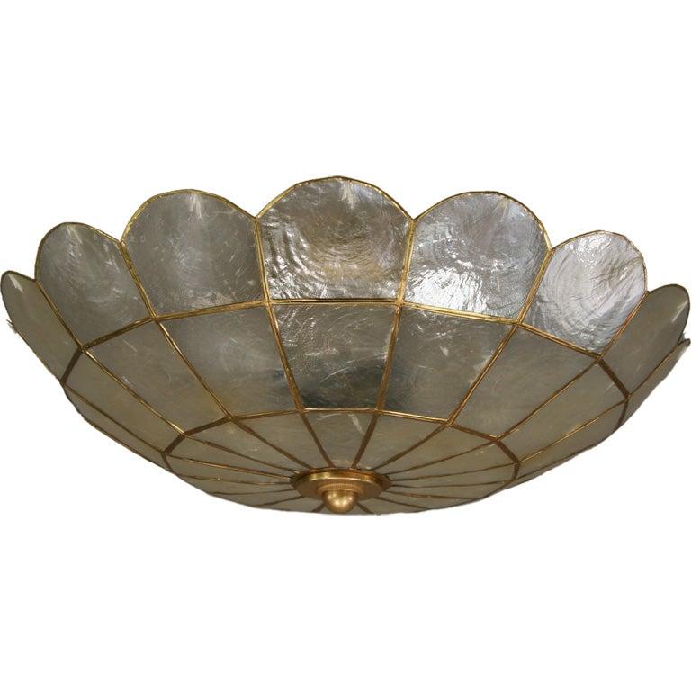 Capiz shell flushmount at 1stdibs for Shell ceiling light fixtures