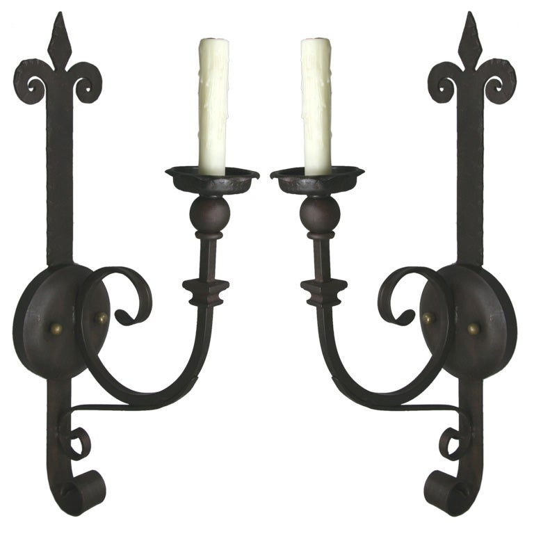 Large Wall Sconces Wrought Iron : Pair Large Forged Wrought Iron Sconce at 1stdibs