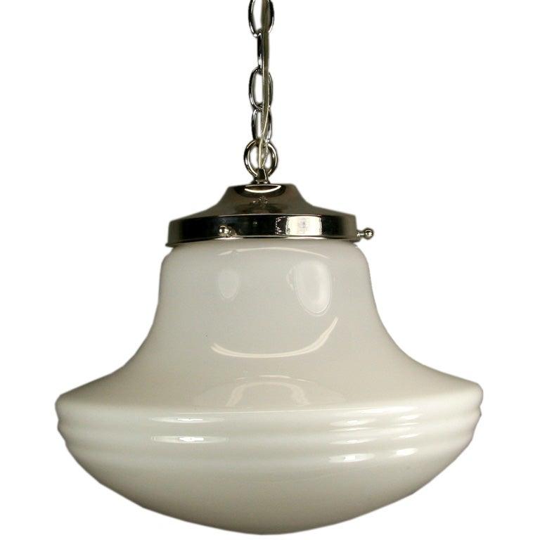 #1-2438, large deco pendant with center rib banding.