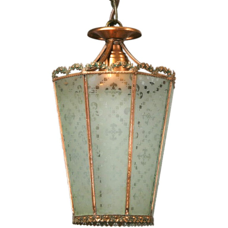 1920s Etched Glass Copper Lantern(2 available)