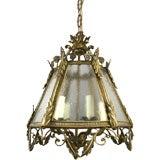 Italian Bronze Pebbled Glass Lantern