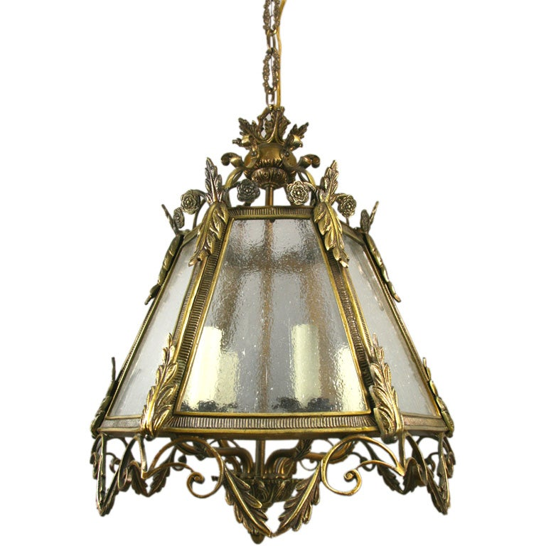 ON SALE Italian Bronze Pebbled Glass Lantern For Sale