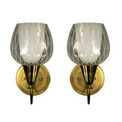 Pair of Striped Glass Sconces(2 Pair Available)