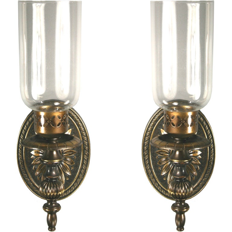 Brass Hurricane Wall Sconces : Pair Darkned Brass Hurricane Sconce (Four pair available) at 1stdibs