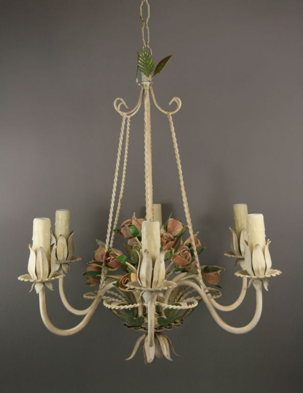 Italian Tole Roses  Basket Chandelier In Good Condition For Sale In Douglas Manor, NY