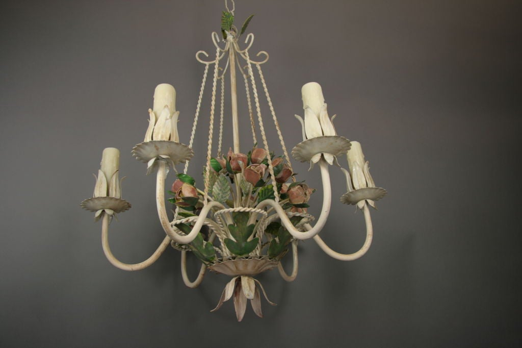 Mid-20th Century Italian Tole Roses  Basket Chandelier For Sale