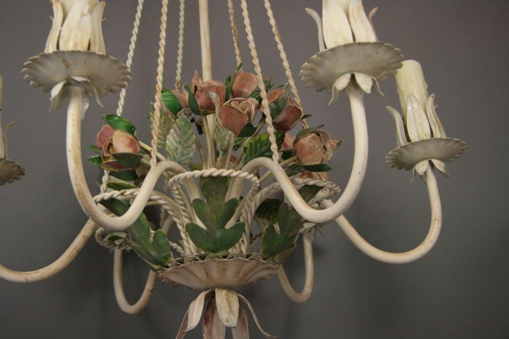 Italian Tole Roses  Basket Chandelier 5