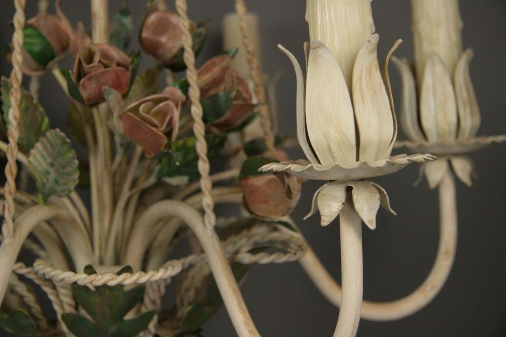 Italian Tole Roses  Basket Chandelier For Sale 1