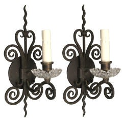 Pair Scrolled Iron Glass Sconce