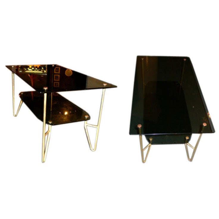 Pair of Smoked Glass Coffee Tables