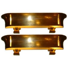 Pair of Patinated Brass Sconces