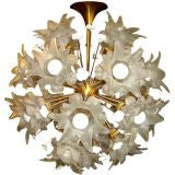 Large Glass & Brass Flower Sputnik Chandelier