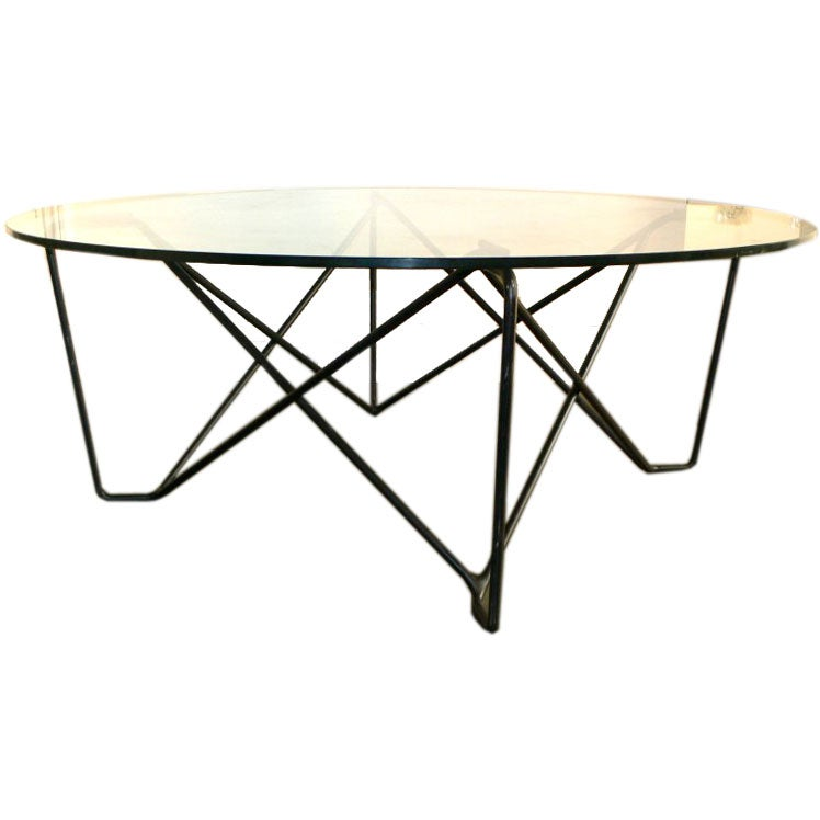 Large sculptural metal glass coffee table at 1stdibs for Big glass coffee table
