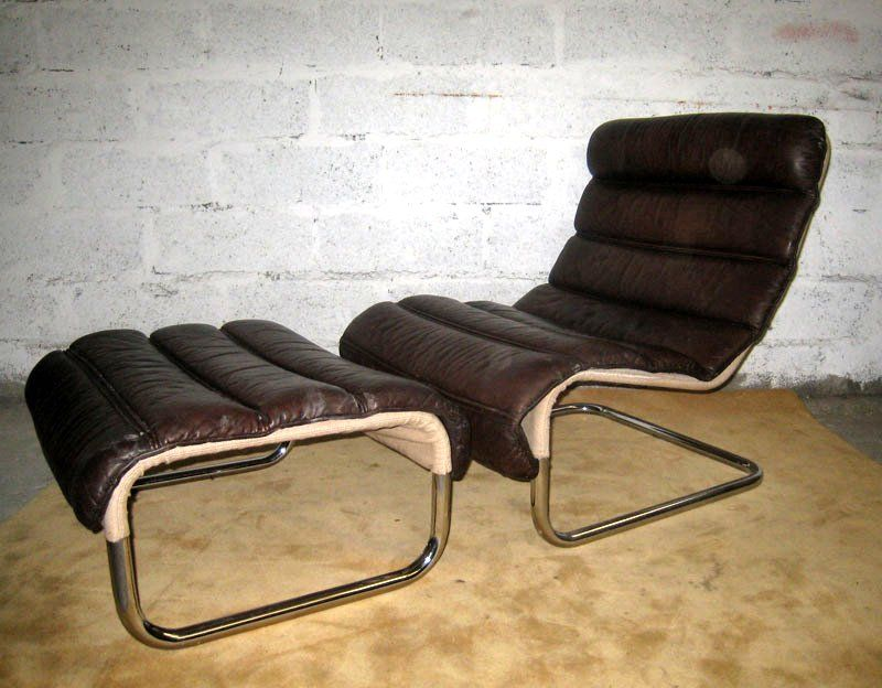 French Tubular Leather Lounge Chair with Ottoman For Sale