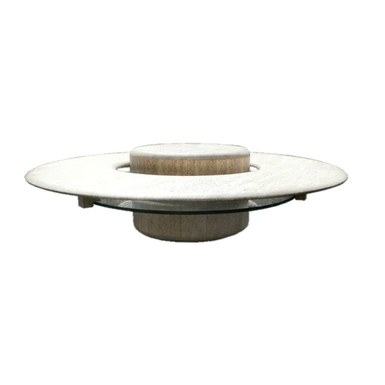 """Travertine""""Saturn"""" Coffee Table For Sale at 1stdibs"""