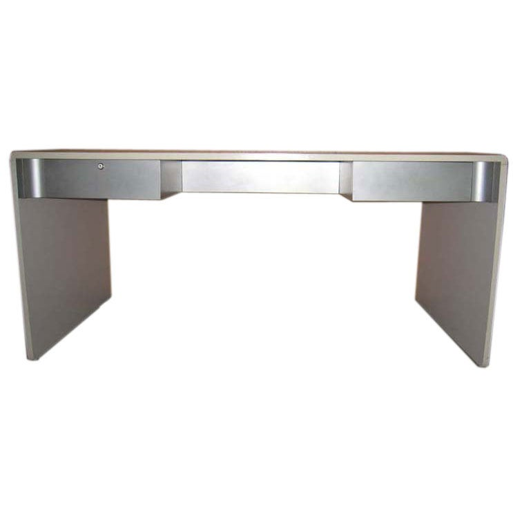 White Laminate And Brushed Steel Desk For