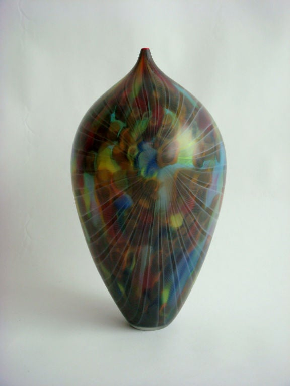 Unique piece made of hand-blown glass worked freely by hand with Intersection of colored glass rods by Andrea Zilio. Signed.