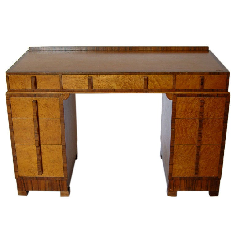 Bird's-Eye Maple and Walnut Art Deco Desk
