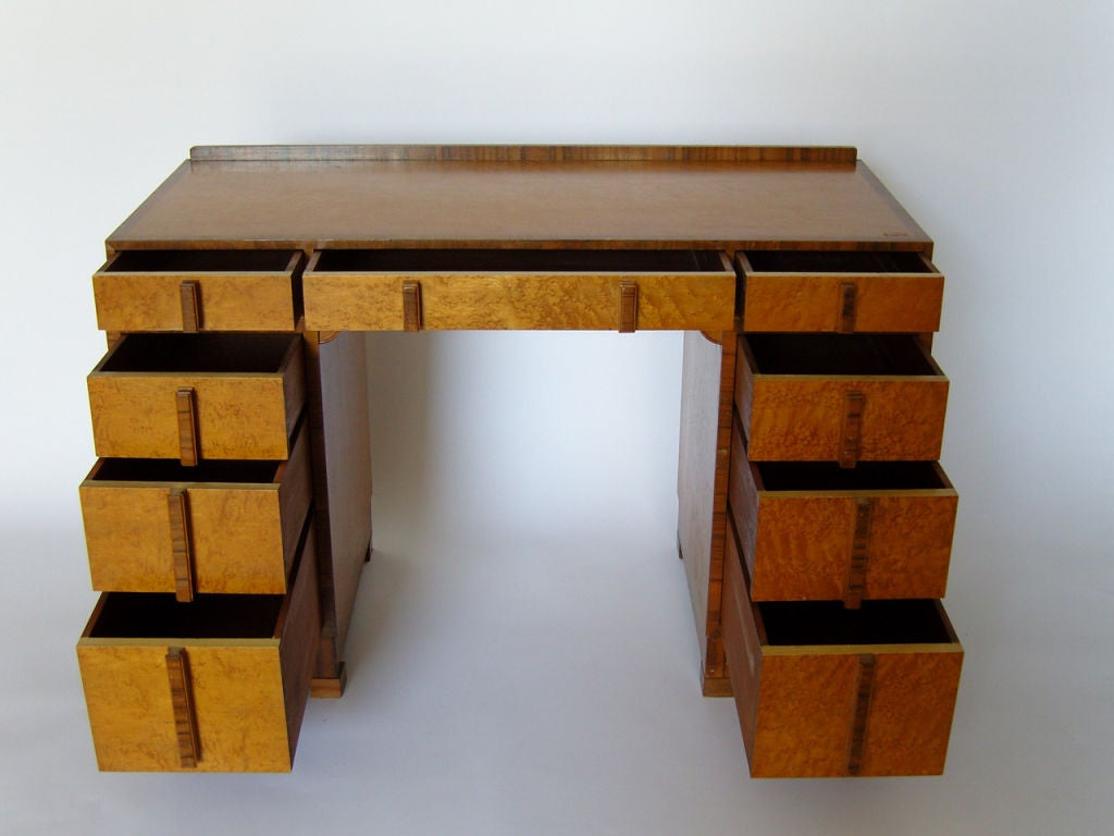 Unknown Bird's-Eye Maple and Walnut Art Deco Desk For Sale