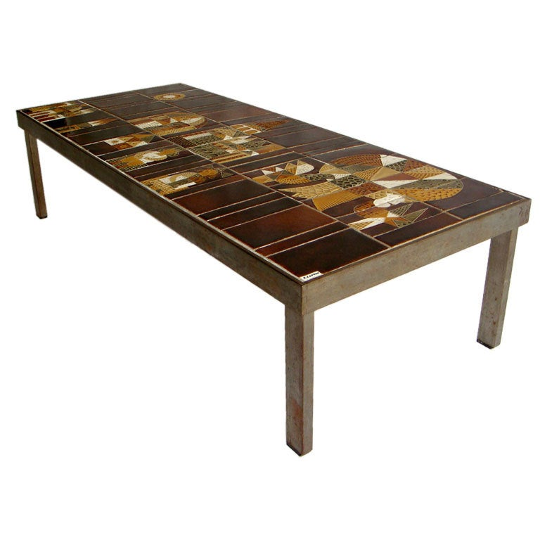 French 1950s Metal Base And Ceramic Top Coffee Table By Roger Capron At 1stdibs