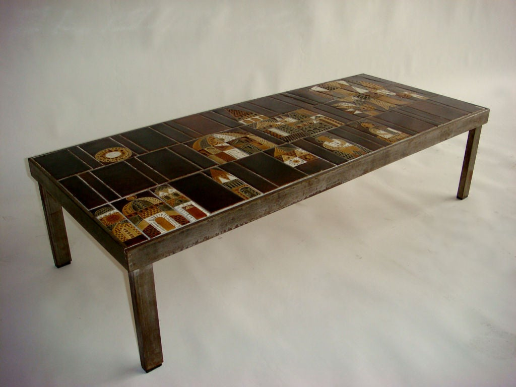 French 1960 39 S Metal Base And Ceramic Top Coffee Table By Roger Capron For Sale At 1stdibs