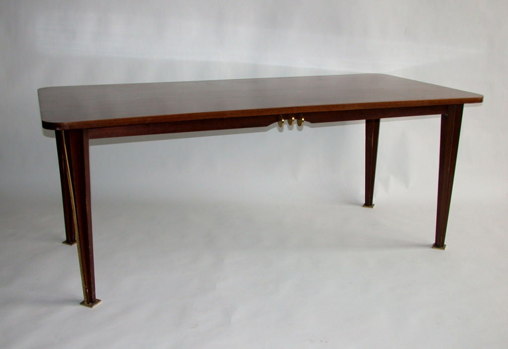 Mid-Century Modern A Fine French 1950s Rosewood Dining Table For Sale