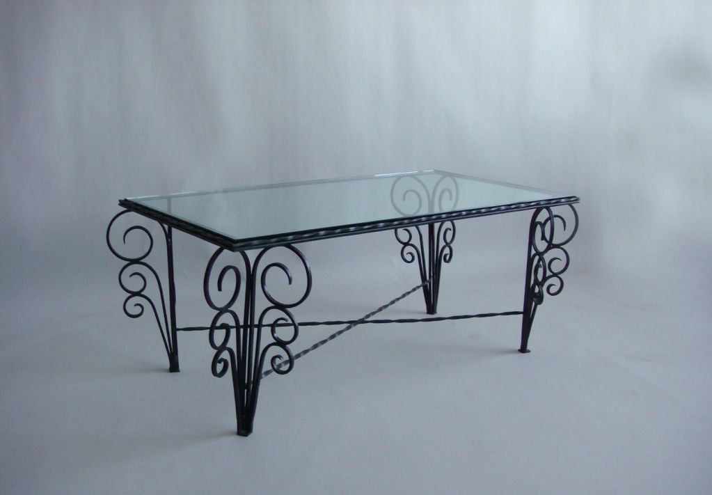 French Art Deco Wrought Iron Coffee Table At 1stdibs