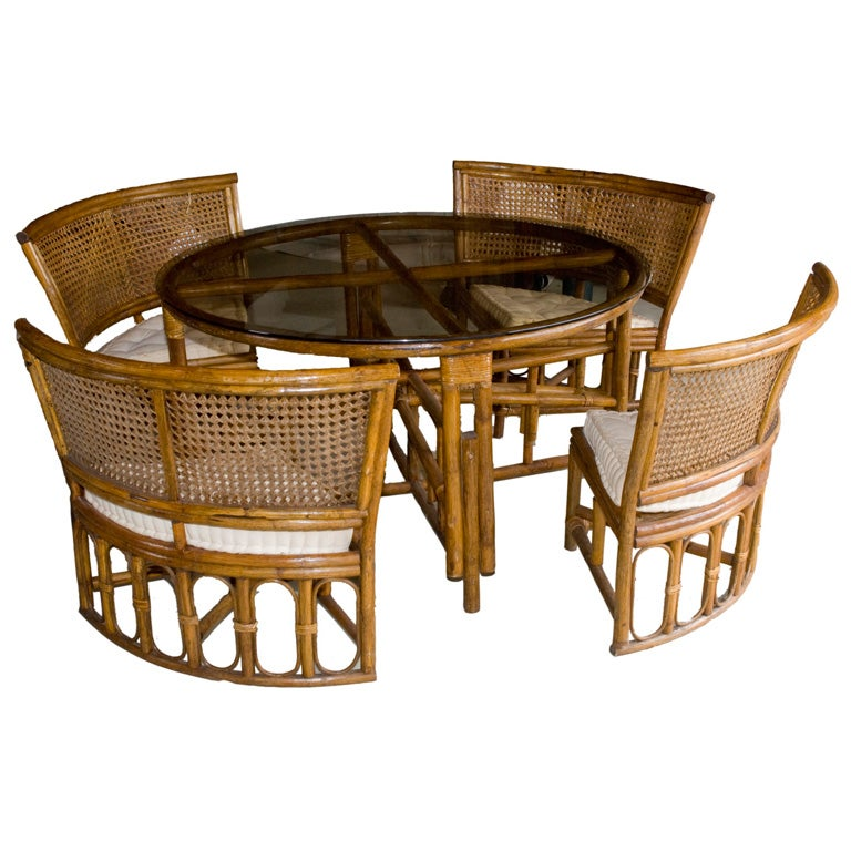 Sunroom Rattan Table And Chairs At 1stdibs