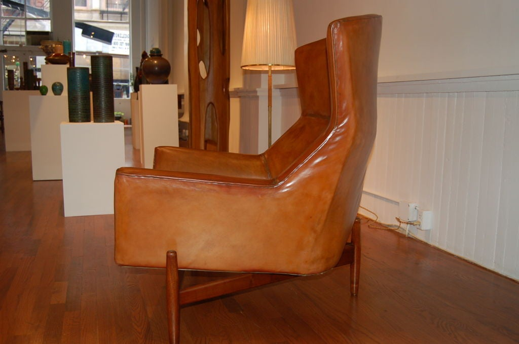 vintage leather lounge chair by jens risom at 1stdibs