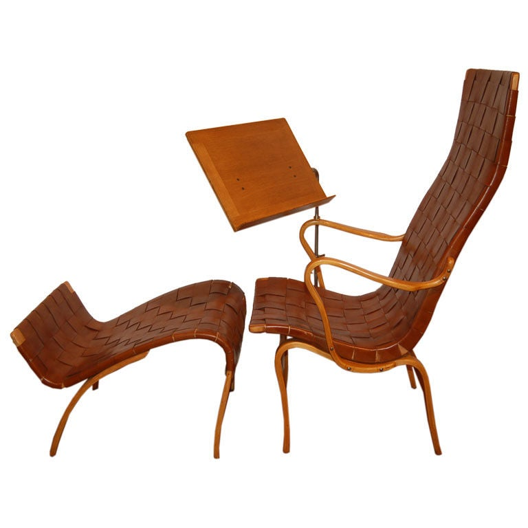 lounge chair and ottoman with reading stand by bruno mathsson at 1stdibs. Black Bedroom Furniture Sets. Home Design Ideas