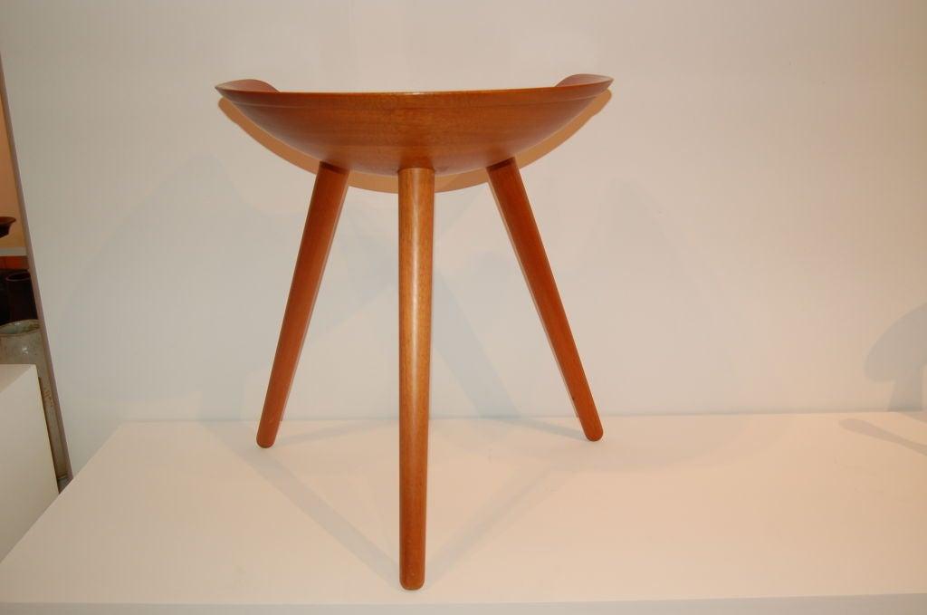 Sculptural three-legged stool by Mogens Lassen for cabinetmaker K. Thomsen.