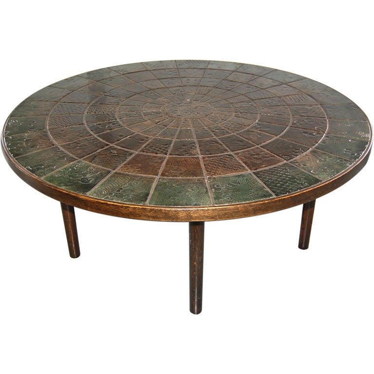 Large Round Coffee Table By Bjorn Winblad With Ceramic Tile Top At 1stdibs