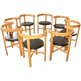 Set of Eight Oak Dining Chairs by John Kandell