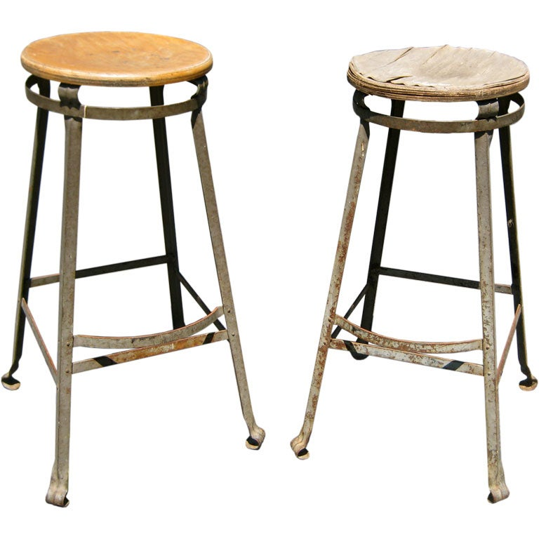 Pair Industrial Work Stools At 1stdibs