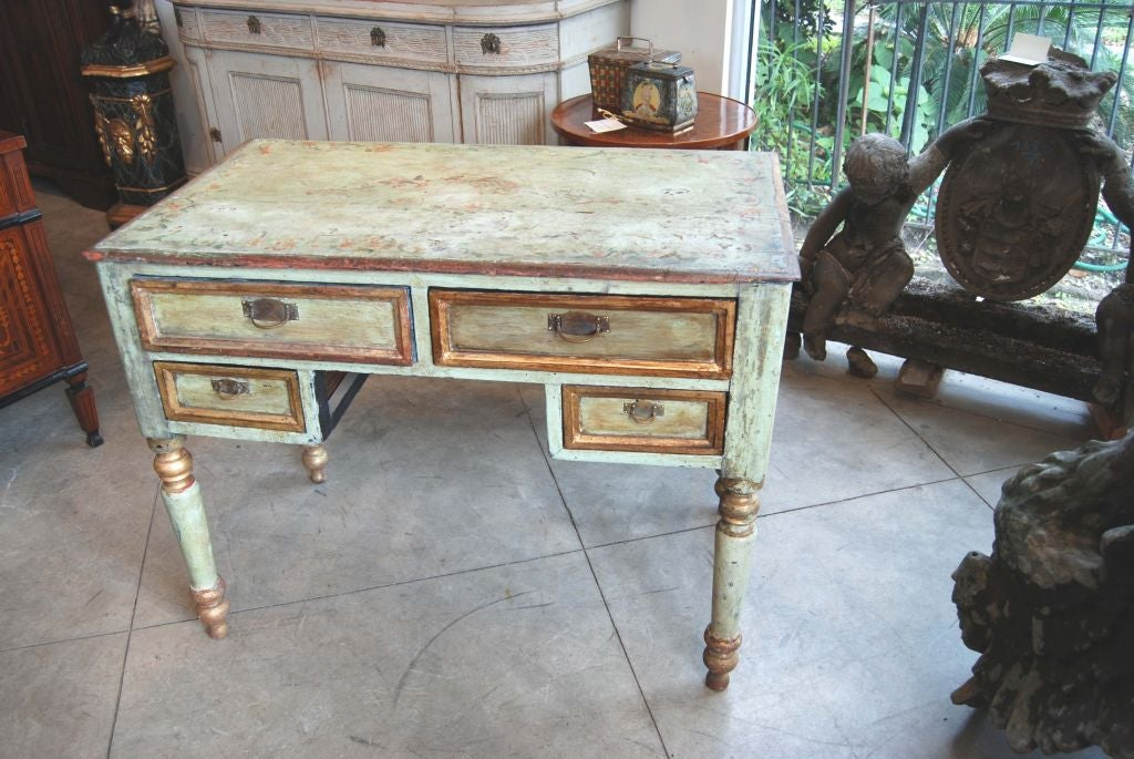 Small highly decorative painted desk.