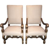 Pair 19th c. Large Giltwood Armchairs
