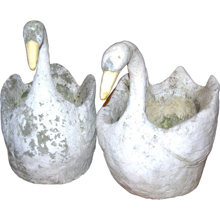 Pair concrete swans at 1stdibs - Concrete swan planter ...