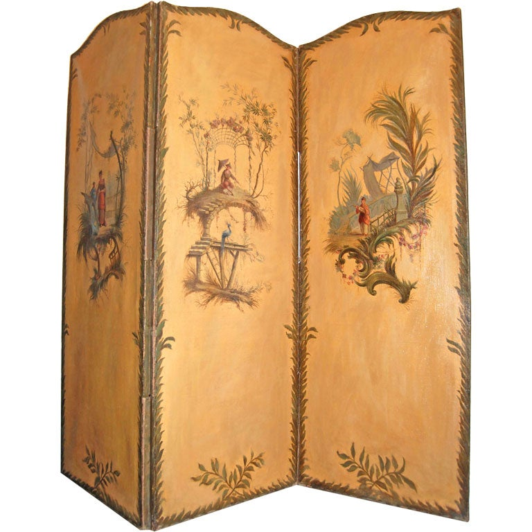 19th c. Three Panel Painted Chinoiserie Screen