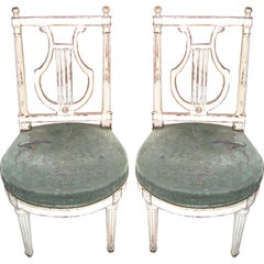 Pair 18th c. Lyre Back Chairs