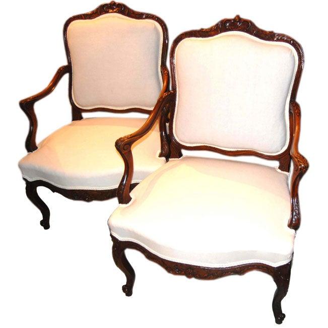 Pair 19th c. Walnut Armchairs