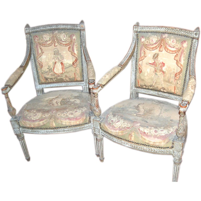 Pair Of 18th Century Louis XVI Aubusson Chairs For Sale At 1stdibs