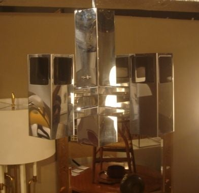 1970s Chrome & Smoked Lucite Chandelier by Robert Sonneman For Sale 3