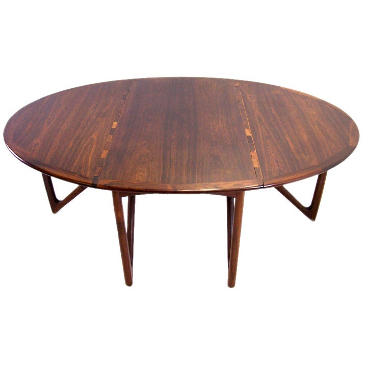 this danish rosewood drop leaf dining table by kurt ostervig is no