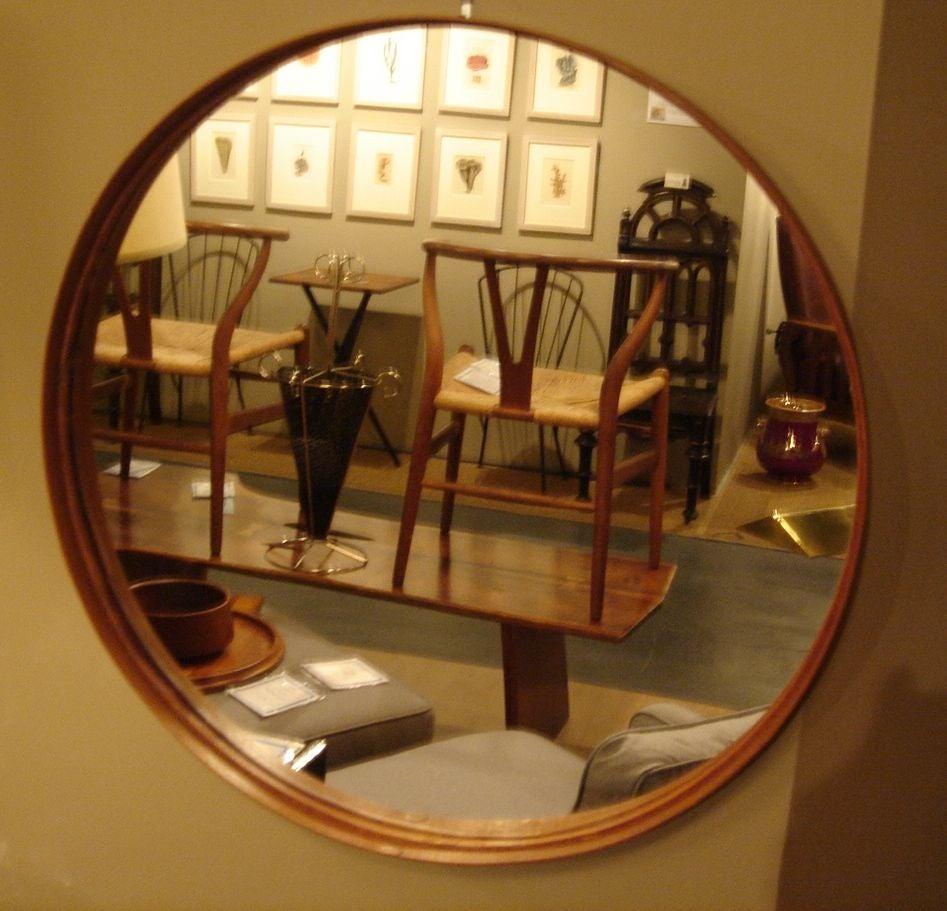 Teak Framed Round Wall Mirror By Glas Master Markaryd Sweden Circa 1950 19